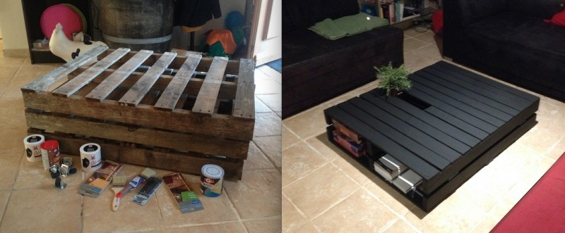 transformer des palettes en table persoclo. Black Bedroom Furniture Sets. Home Design Ideas